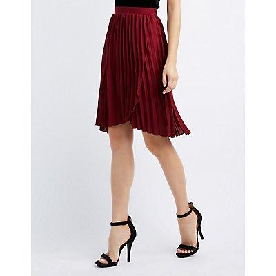 Pleated Wrap Midi Skirt