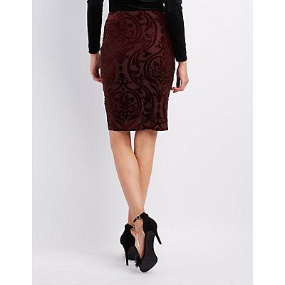 Flocked Velvet Pencil Skirt