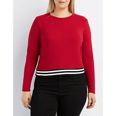 Plus Size Ribbed Varsity Striped Band Top