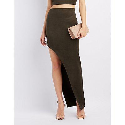 Faux Suede Asymmetrical Maxi Skirt