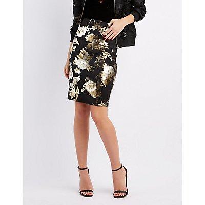 Metallic Floral Pencil Skirt