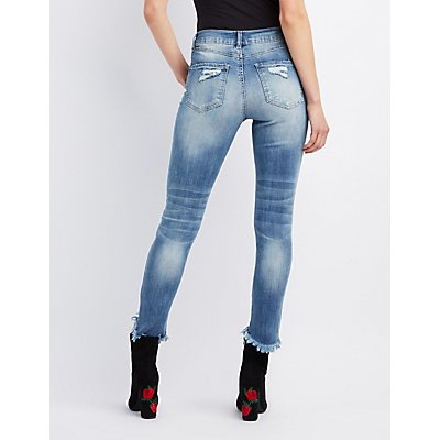 Refuge Frayed Hem Destroyed Skinny Jeans