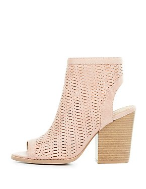 Perforated Peep Toe Slingback Booties