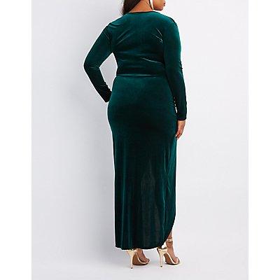 Plus Size Velvet Surplice Maxi Dress