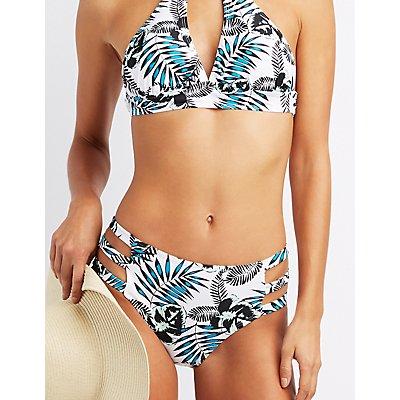 Tropical Print Caged Bikini Bottoms