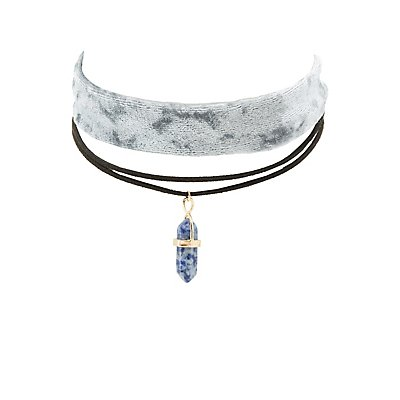 Velvet & Crystal Charm Choker Necklaces - 2 Pack