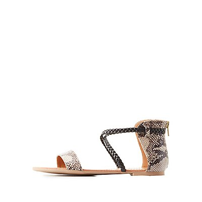 Faux Snakeskin Strappy Sandals