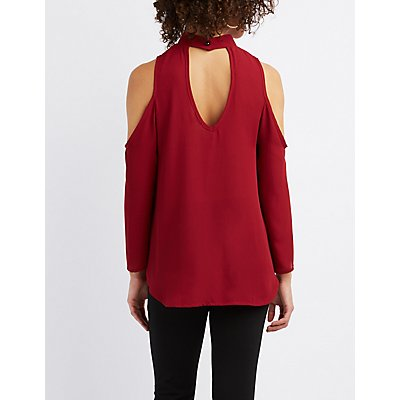 Mock Neck Cold Shoulder Blouse