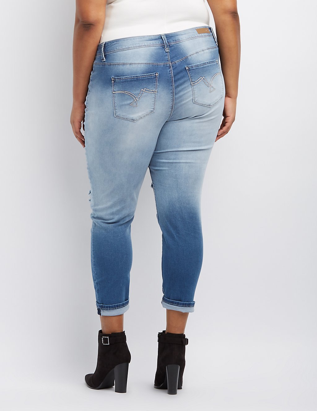 Plus Size Ombre Destroyed Skinny Jeans | Charlotte Russe
