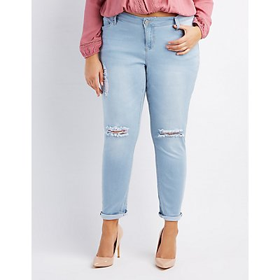Plus Size Destroyed Cropped Skinny Jeans