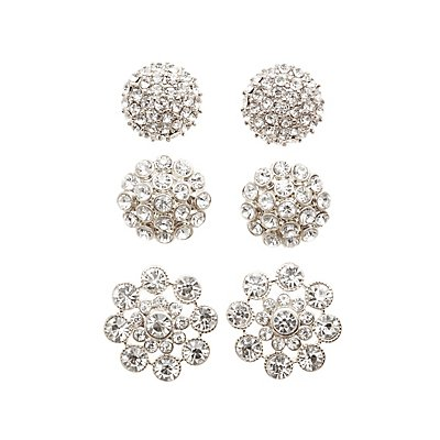 Embellished Oversize Stud Earrings - 3 Pack