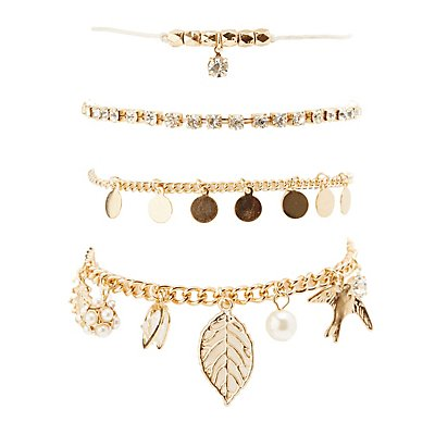 Embellished Charm Layering Bracelets - 6 Pack