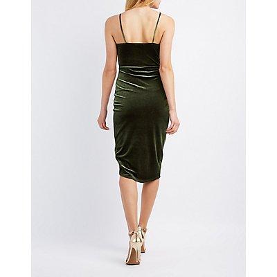 Velvet Wrapped Bodycon Dress