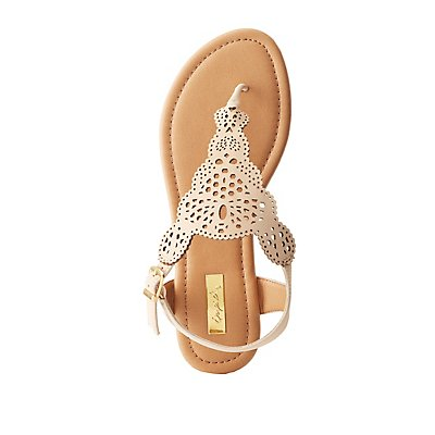 Qupid Laser Cut Thong Sandals
