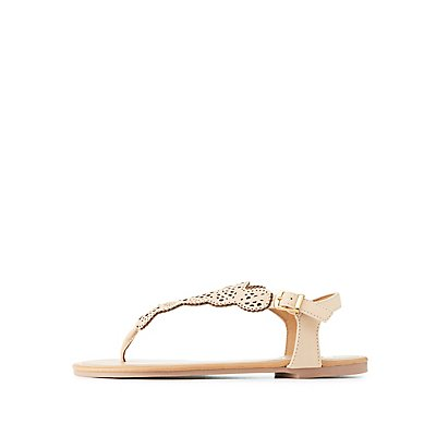 Qupid Laser Cut Thong Sandals