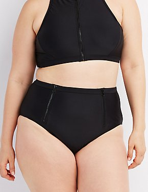 Plus Size Zip-Front Bikini Bottoms