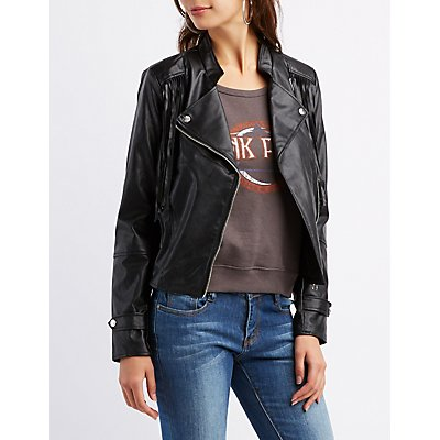 Fringed Faux Leather Moto Jacket