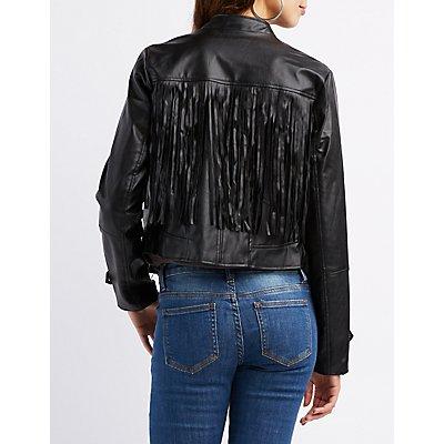Fringed Faux Leather Moto Jacket