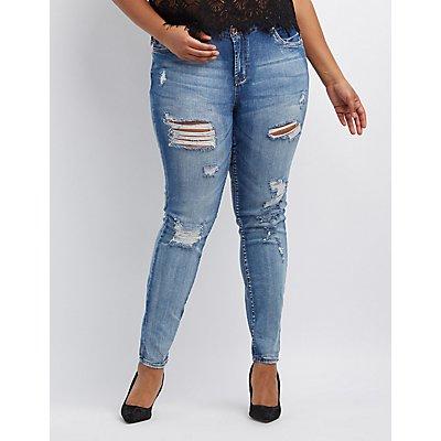 Plus Size Refuge Skinny Boyfriend Destroyed Jeans