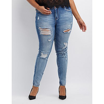Plus Size Refuge Skinny Boyfriend Destroyed Jeans ...