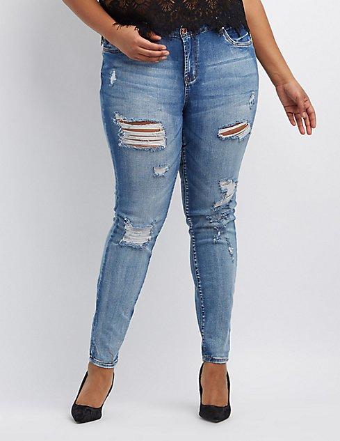 plus size refuge skinny boyfriend destroyed jeans charlotte russe. Black Bedroom Furniture Sets. Home Design Ideas