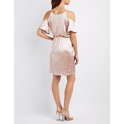 Satin Cold Shoulder Surplice Dress