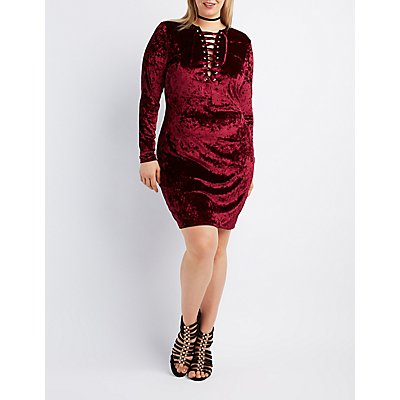 Plus Size Velvet Lace-Up Bodycon Dress