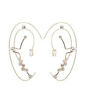Rhinestone Ear Cuffs & Stud Earrings Set