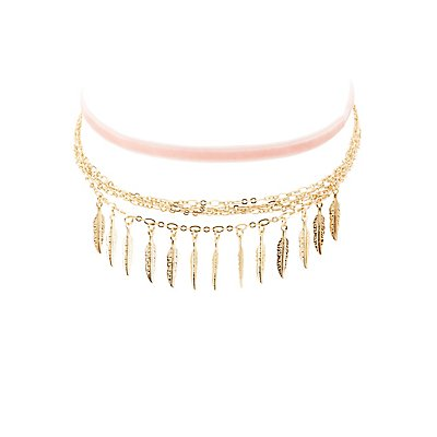 Velvet & Chainlink Choker Necklaces - 2 Pack