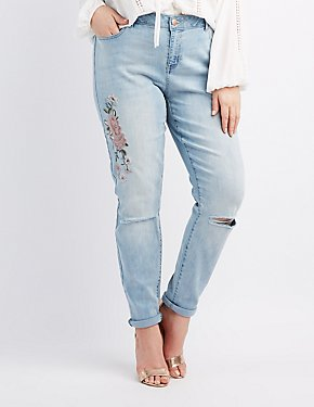 Plus Size Refuge Embroidered Boyfriend Jeans