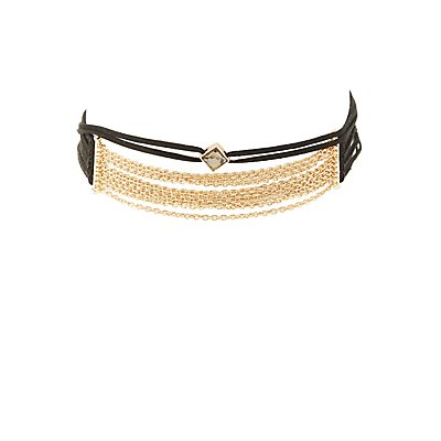 Chainlink & Faux Suede Choker Necklace