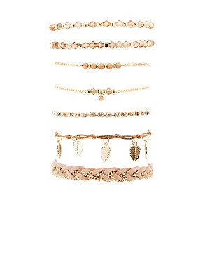 Beaded, Rhinestone & Chainlink Layering Bracelets - 7 Pack