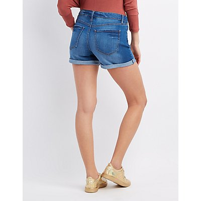 Refuge Girlfriend Cuffed Denim Shorts