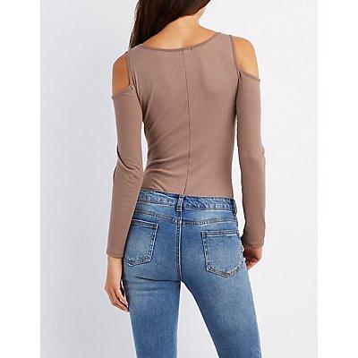 Ribbed Cold Shoulder Bodysuit