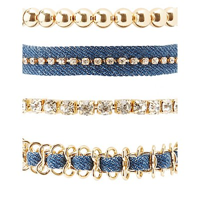 Denim, Rhinestone & Beaded Layering Bracelets - 4 Pack