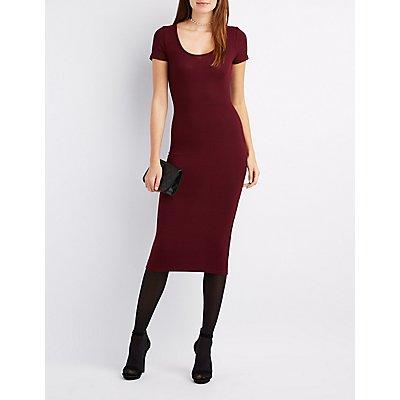 Ribbed Scoop Neck Midi Dress
