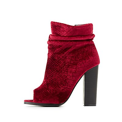 Embossed Velvet Peep Toe Booties