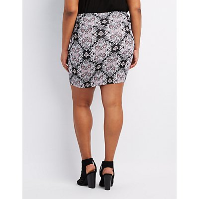 Plus Size Paisley Bodycon Mini Skirt
