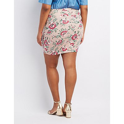 Plus Size Floral Bodycon Mini Skirt