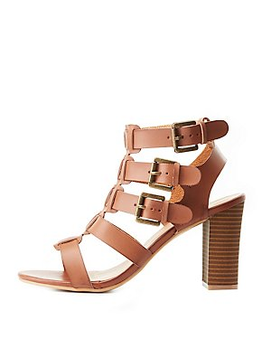 Wide Width Buckled Strappy Sandals