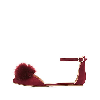 Pom Pom Pointed Toe Flats