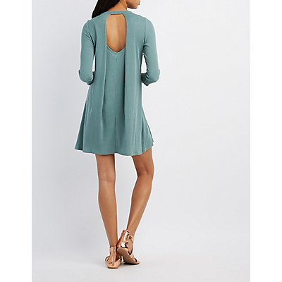 Ribbed Open Back Shift Dress