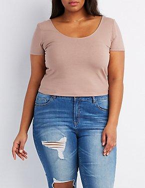 Plus Size T-Back Crop Top
