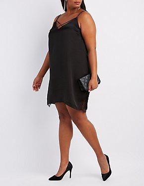 Plus Size Satin Strappy Slip Dress