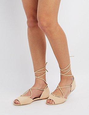 Qupid Peep Toe Lace-Up Flats