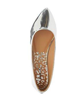 Qupid Metallic Pointed Toe Flats