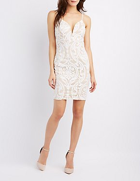 Sexy Mesh Cut Out Amp Lace Bodycon Dresses Charlotte Russe