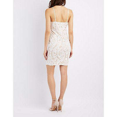 Lace Notched Bodycon Dress