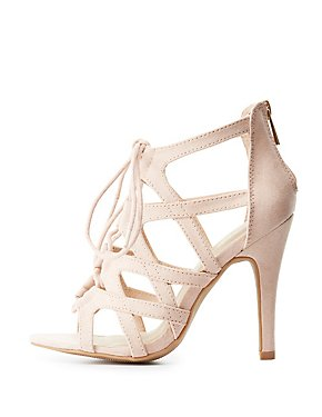Wide Width Caged Lace-Up Dress Sandals