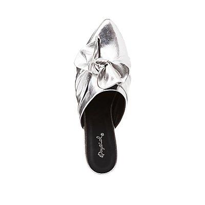 Qupid Metallic Knotted Slip-On Flats